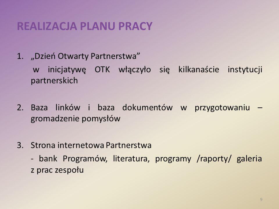 REALIZACJA PLANU PRACY 1.Dzień Otwarty Partnerstwa w inicjatywę OTK włączyło się kilkanaście instytucji partnerskich 2.Baza linków i baza dokumentów w przygotowaniu – gromadzenie pomysłów 3.Strona internetowa Partnerstwa - bank Programów, literatura, programy /raporty/ galeria z prac zespołu 9