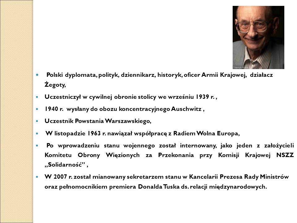 Polski dyplomata, polityk, dziennikarz, historyk, oficer Armii Krajowej, działacz Żegoty, Uczestniczył w cywilnej obronie stolicy we wrześniu 1939 r., 1940 r.