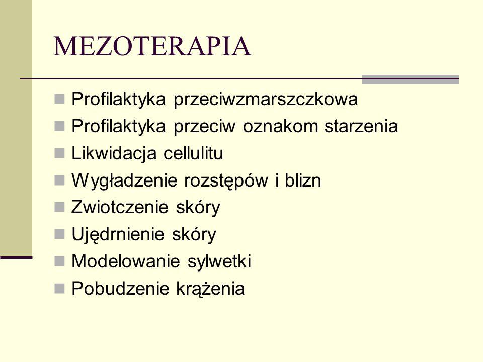 MEZOTERAPIA Profilaktyka przeciwzmarszczkowa Profilaktyka przeciw oznakom starzenia Likwidacja cellulitu Wygładzenie rozstępów i blizn Zwiotczenie skó