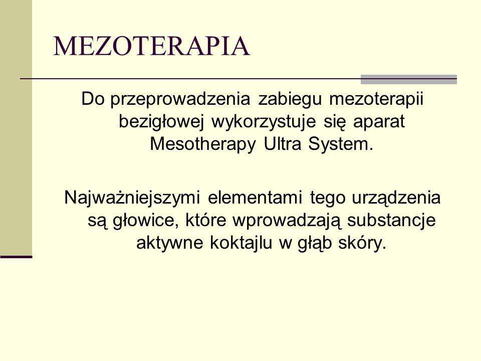 MEZOTERAPIA Do przeprowadzenia zabiegu mezoterapii bezigłowej wykorzystuje się aparat Mesotherapy Ultra System. Najważniejszymi elementami tego urządz