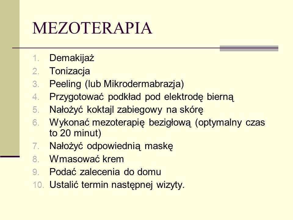 MEZOTERAPIA 1. Demakijaż 2. Tonizacja 3. Peeling (lub Mikrodermabrazja) 4. Przygotować podkład pod elektrodę bierną 5. Nałożyć koktajl zabiegowy na sk