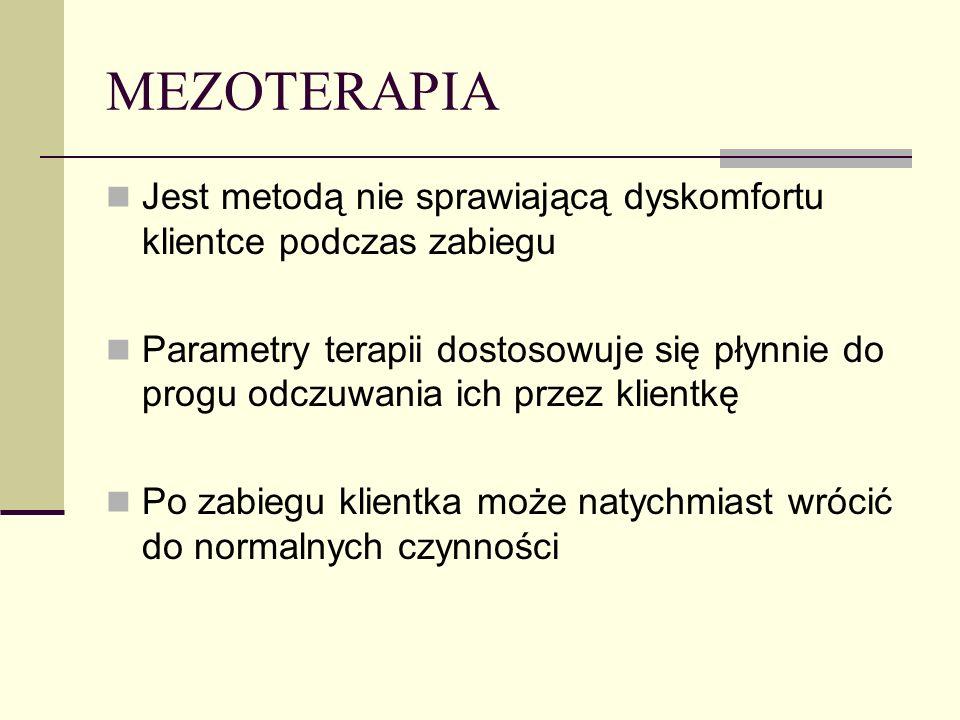 MEZOTERAPIA Jest metodą nie sprawiającą dyskomfortu klientce podczas zabiegu Parametry terapii dostosowuje się płynnie do progu odczuwania ich przez k