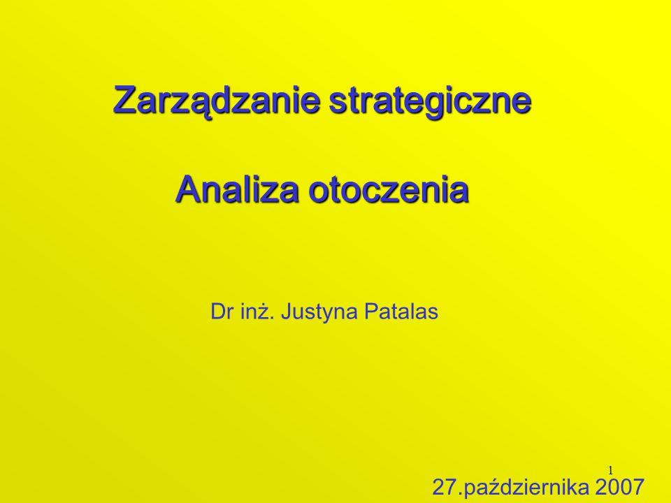 1 Zarządzanie strategiczne Analiza otoczenia Dr inż. Justyna Patalas 27.października 2007