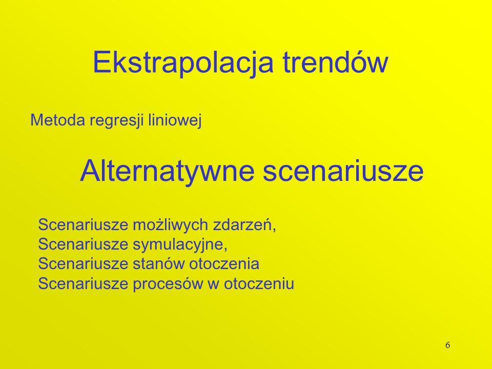 6 Ekstrapolacja trendów Metoda regresji liniowej Alternatywne scenariusze Scenariusze możliwych zdarzeń, Scenariusze symulacyjne, Scenariusze stanów o