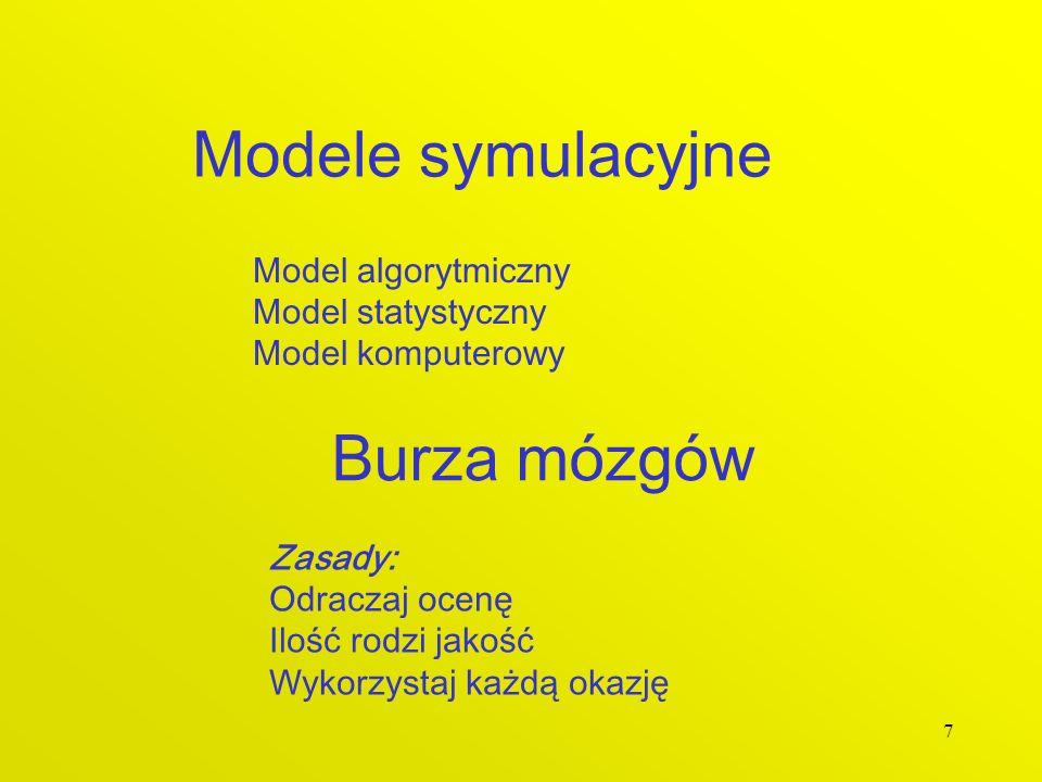 7 Modele symulacyjne Model algorytmiczny Model statystyczny Model komputerowy Burza mózgów Zasady: Odraczaj ocenę Ilość rodzi jakość Wykorzystaj każdą