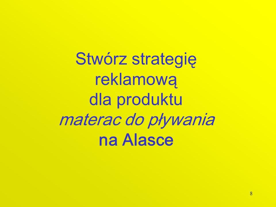 8 Stwórz strategię reklamową dla produktu materac do pływania na Alasce