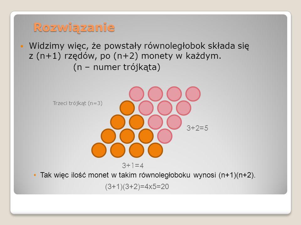 Rozwiązanie Widzimy więc, że powstały równoległobok składa się z (n+1) rzędów, po (n+2) monety w każdym. (n – numer trójkąta) Trzeci trójkąt (n=3) 3+1
