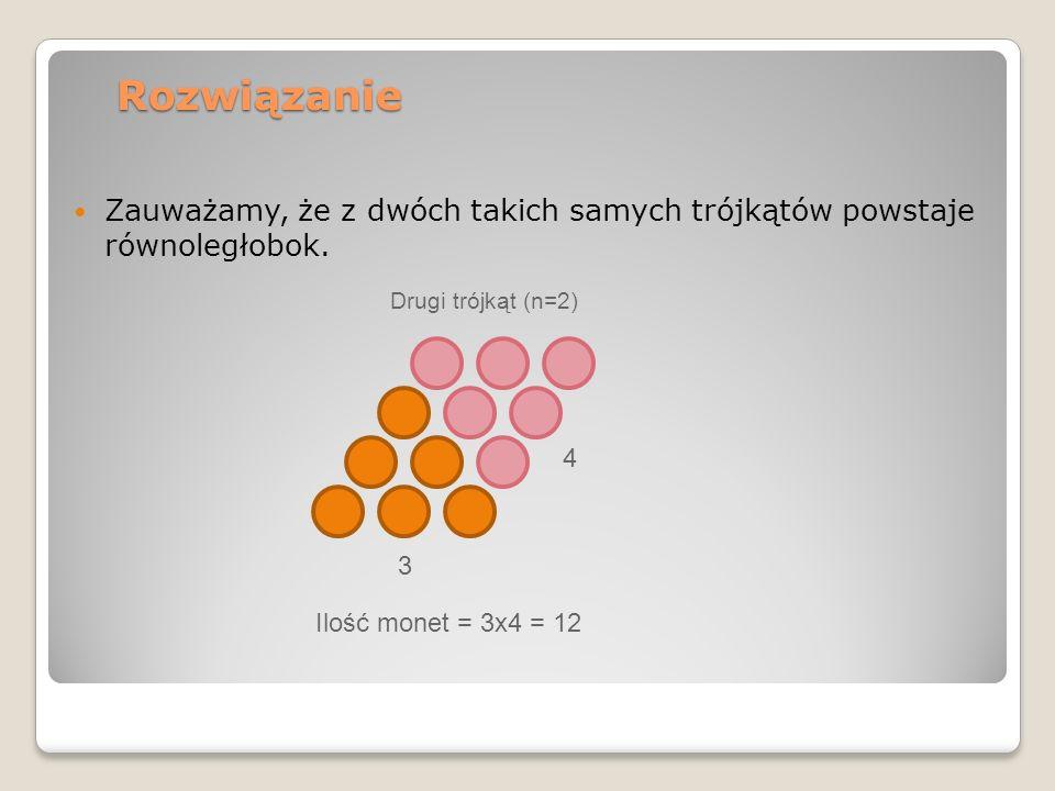 Rozwiązanie Zauważamy, że z dwóch takich samych trójkątów powstaje równoległobok. Drugi trójkąt (n=2) 3 4 Ilość monet = 3x4 = 12