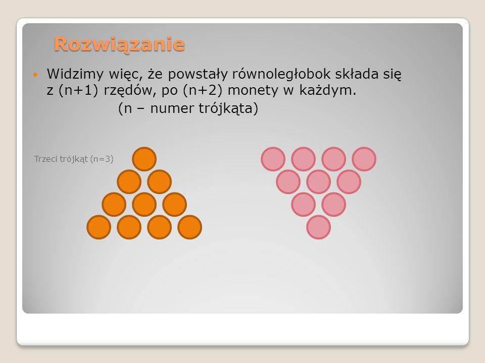Rozwiązanie Widzimy więc, że powstały równoległobok składa się z (n+1) rzędów, po (n+2) monety w każdym. (n – numer trójkąta) Trzeci trójkąt (n=3)