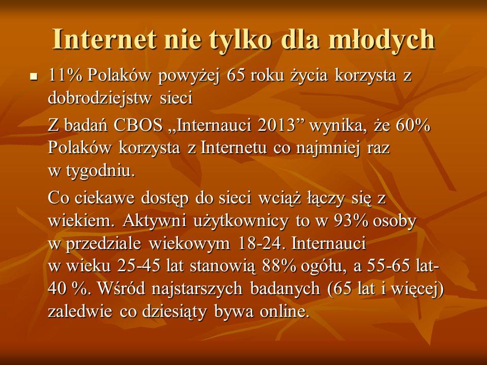 Internet nie tylko dla młodych 11% Polaków powyżej 65 roku życia korzysta z dobrodziejstw sieci 11% Polaków powyżej 65 roku życia korzysta z dobrodzie