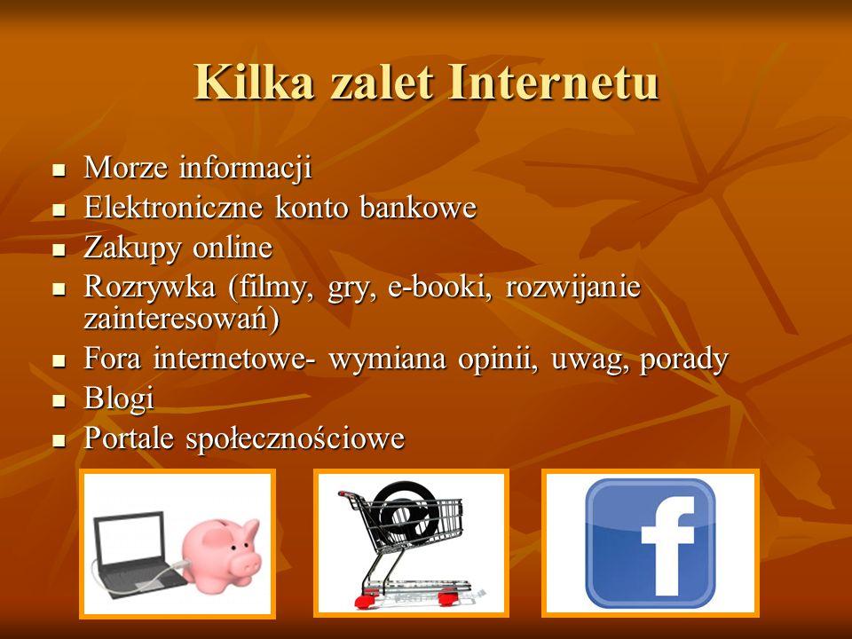 Kilka zalet Internetu Morze informacji Morze informacji Elektroniczne konto bankowe Elektroniczne konto bankowe Zakupy online Zakupy online Rozrywka (