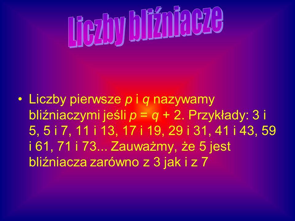 Liczby pierwsze p i q nazywamy bliźniaczymi jeśli p = q + 2. Przykłady: 3 i 5, 5 i 7, 11 i 13, 17 i 19, 29 i 31, 41 i 43, 59 i 61, 71 i 73... Zauważmy