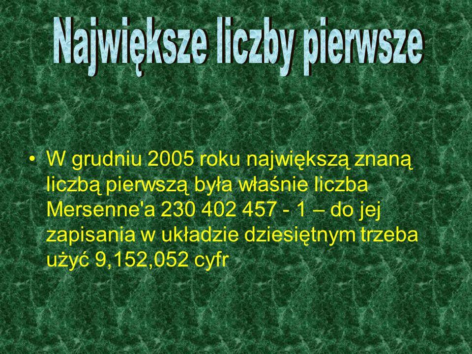 W grudniu 2005 roku największą znaną liczbą pierwszą była właśnie liczba Mersenne'a 230 402 457 - 1 – do jej zapisania w układzie dziesiętnym trzeba u