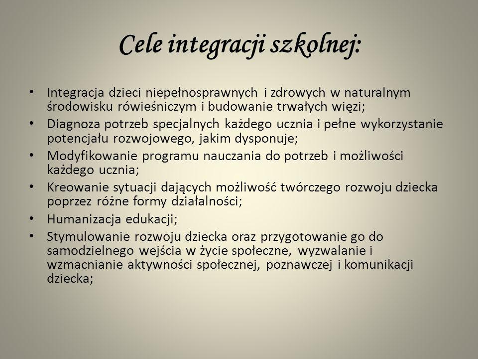 Cele integracji szkolnej: Integracja dzieci niepełnosprawnych i zdrowych w naturalnym środowisku rówieśniczym i budowanie trwałych więzi; Diagnoza pot