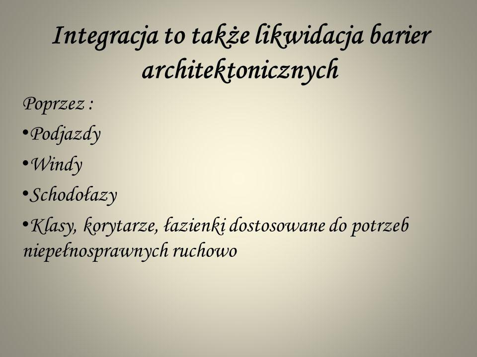 Integracja to także likwidacja barier architektonicznych Poprzez : Podjazdy Windy Schodołazy Klasy, korytarze, łazienki dostosowane do potrzeb niepełn