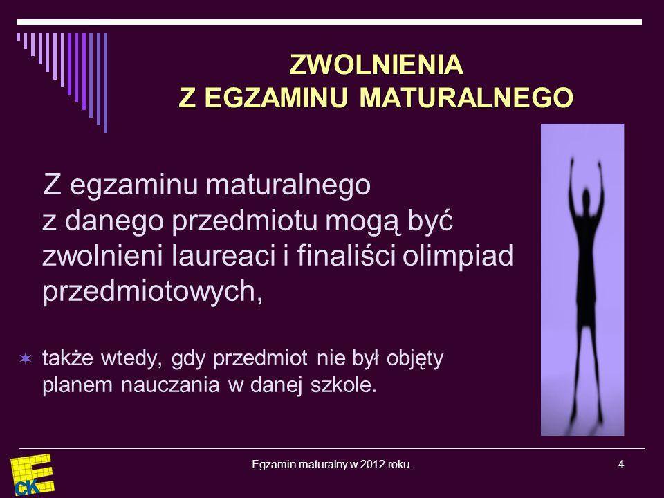 Egzamin maturalny w 2012 roku.25 Harmonogram egzaminu maturalnego Część ustna egzaminu maturalnego od 4 do 25 maja 2012 r.