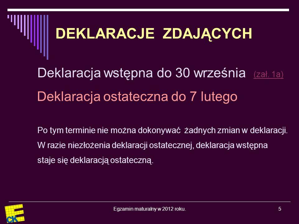 Egzamin maturalny w 2012 roku.5 DEKLARACJE ZDAJĄCYCH Deklaracja wstępna do 30 września (zał.