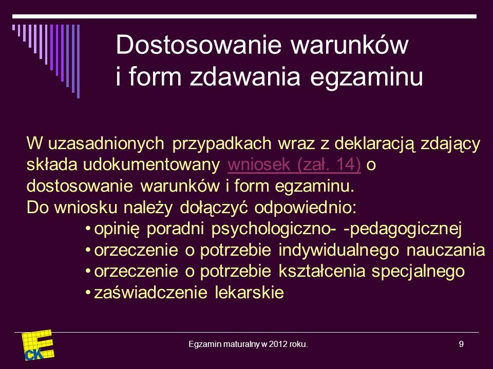 Egzamin maturalny w 2012 roku.30 Na podstawie materiałów CKE i OKE prezentację przygotowała Danuta Reiter
