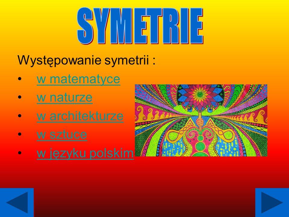 W matematyce wyróżniamy dwie symetrie: 1.Symetria osiowaSymetria osiowa 2.Symetria środkowaSymetria środkowa 1.