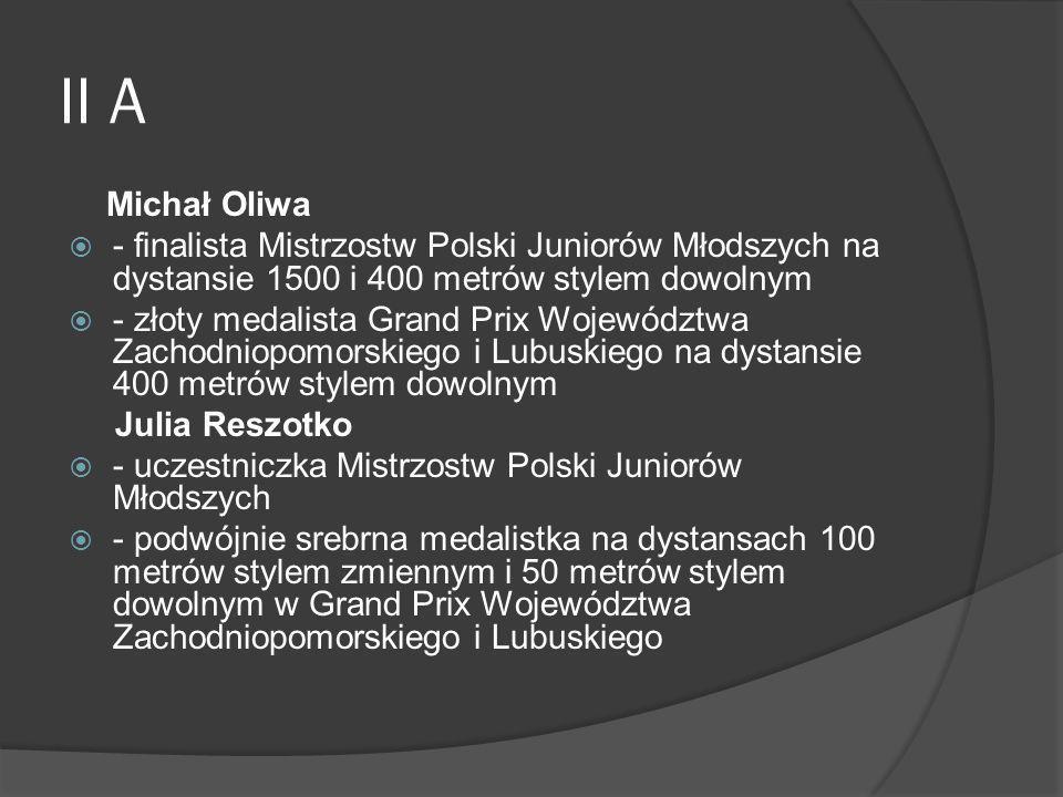 II A Michał Oliwa - finalista Mistrzostw Polski Juniorów Młodszych na dystansie 1500 i 400 metrów stylem dowolnym - złoty medalista Grand Prix Wojewód