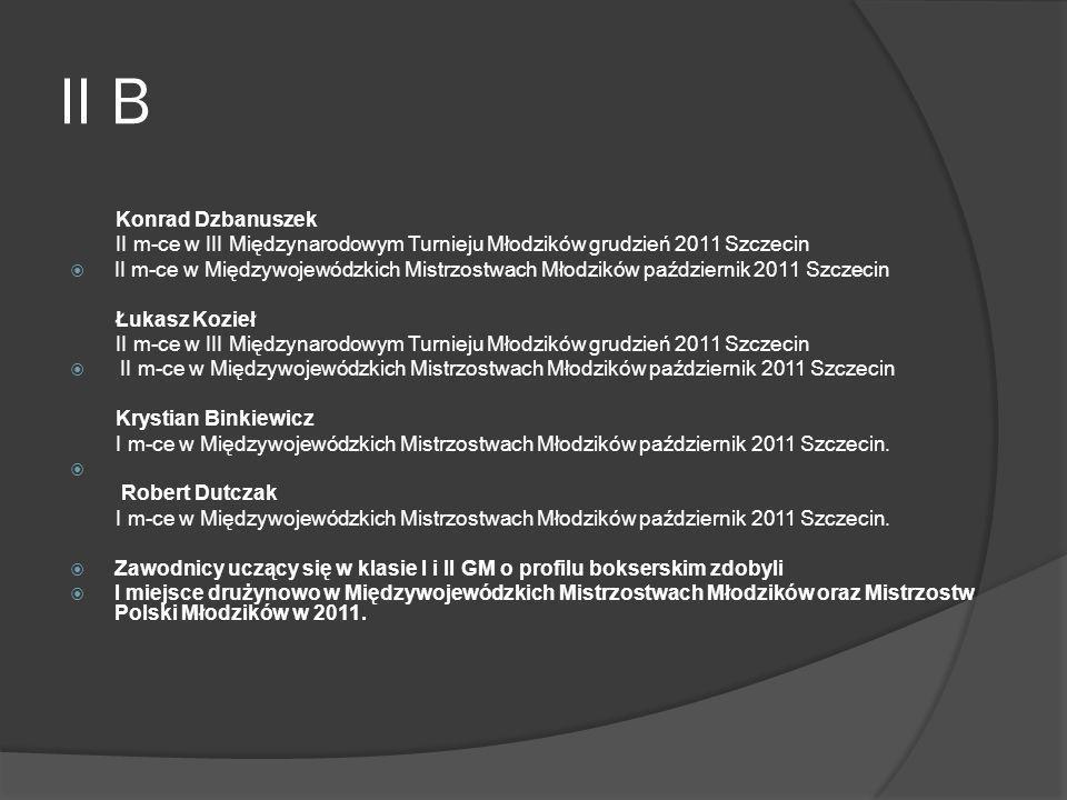 II B Konrad Dzbanuszek II m-ce w III Międzynarodowym Turnieju Młodzików grudzień 2011 Szczecin II m-ce w Międzywojewódzkich Mistrzostwach Młodzików pa