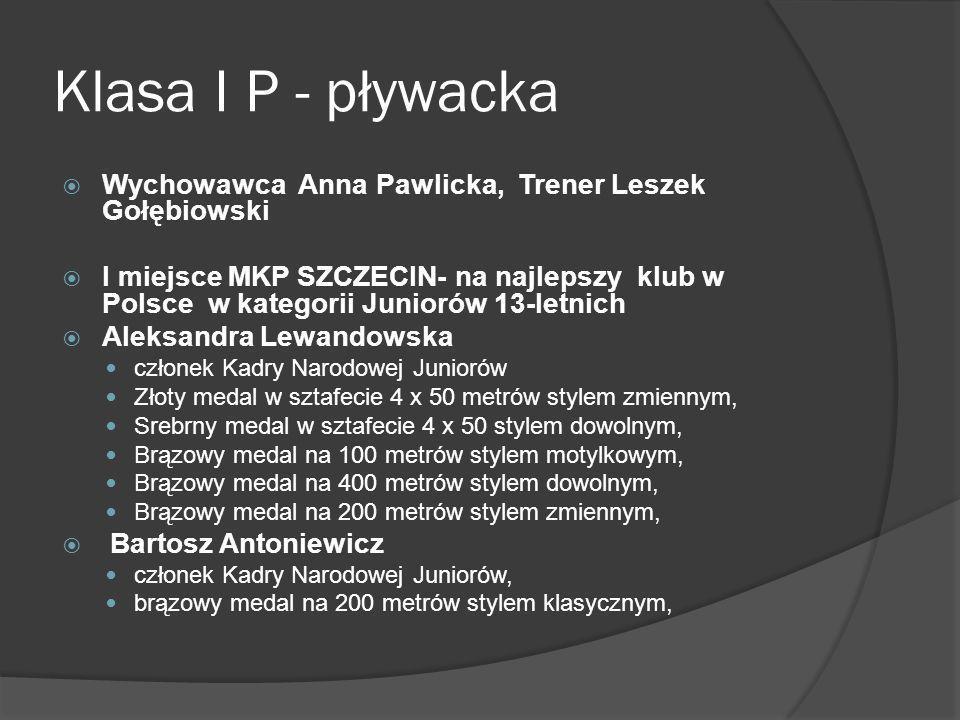 Klasa I P - pływacka Wychowawca Anna Pawlicka, Trener Leszek Gołębiowski I miejsce MKP SZCZECIN- na najlepszy klub w Polsce w kategorii Juniorów 13-le