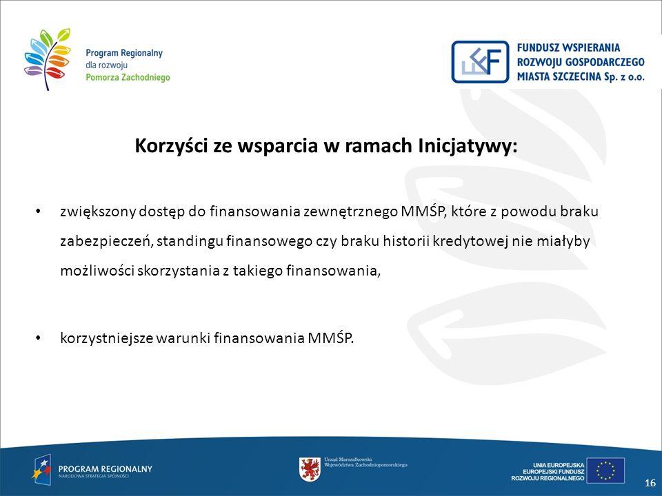 Korzyści ze wsparcia w ramach Inicjatywy: zwiększony dostęp do finansowania zewnętrznego MMŚP, które z powodu braku zabezpieczeń, standingu finansoweg