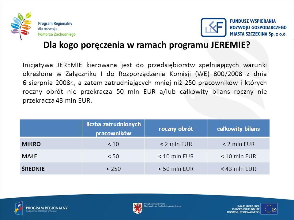 Dla kogo poręczenia w ramach programu JEREMIE? 19 liczba zatrudnionych pracowników roczny obrótcałkowity bilans MIKRO< 10< 2 mln EUR MAŁE< 50< 10 mln