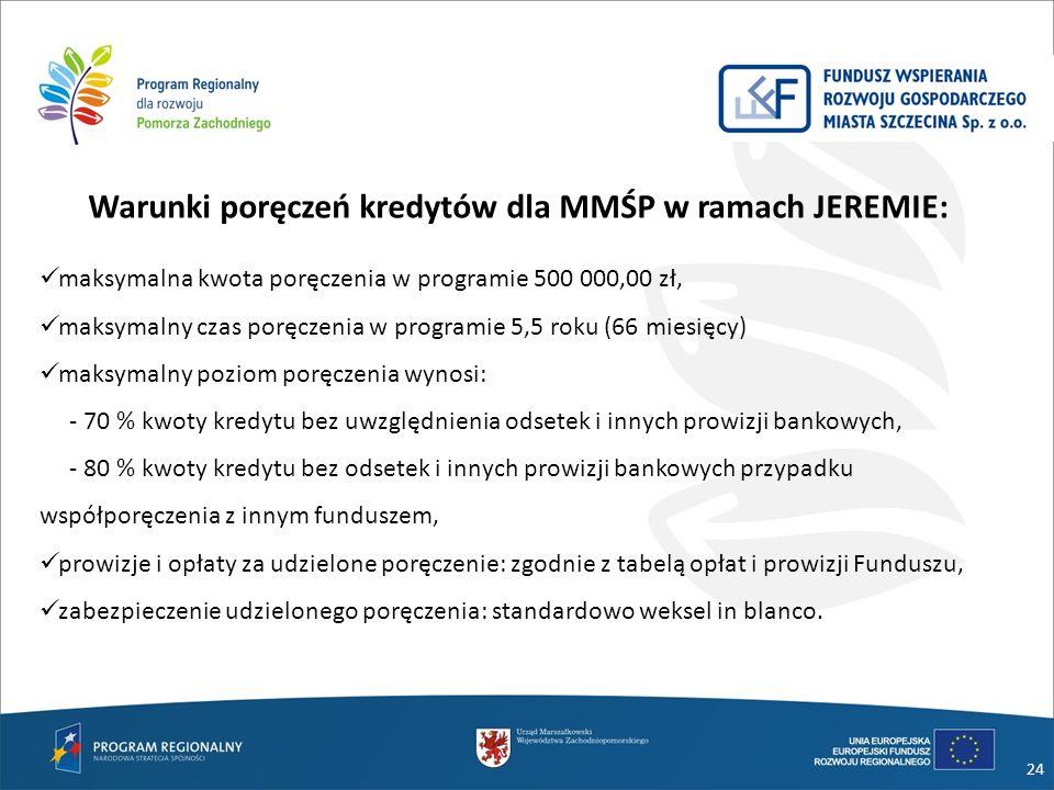 24 Warunki poręczeń kredytów dla MMŚP w ramach JEREMIE: maksymalna kwota poręczenia w programie 500 000,00 zł, maksymalny czas poręczenia w programie