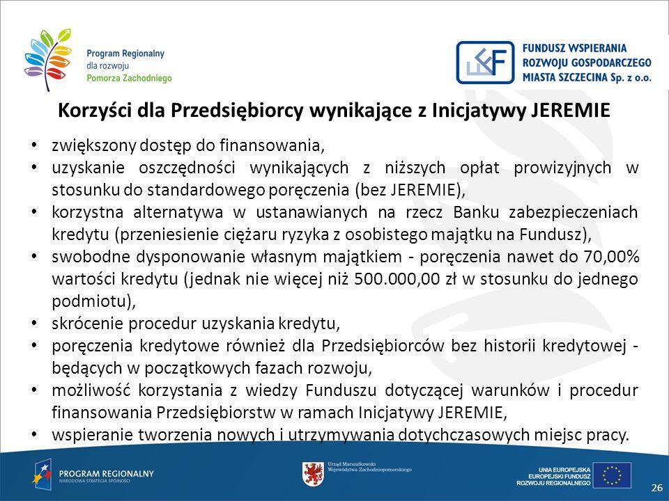 26 Korzyści dla Przedsiębiorcy wynikające z Inicjatywy JEREMIE zwiększony dostęp do finansowania, uzyskanie oszczędności wynikających z niższych opłat