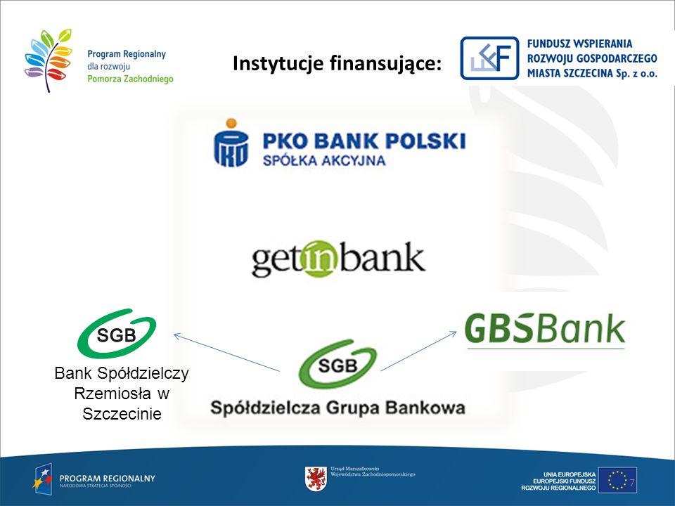 Instytucje finansujące: 7 Bank Spółdzielczy Rzemiosła w Szczecinie