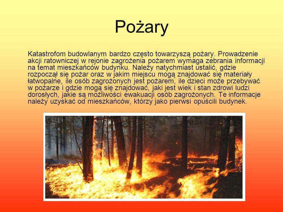 Pożary Katastrofom budowlanym bardzo często towarzyszą pożary. Prowadzenie akcji ratowniczej w rejonie zagrożenia pożarem wymaga zebrania informacji n