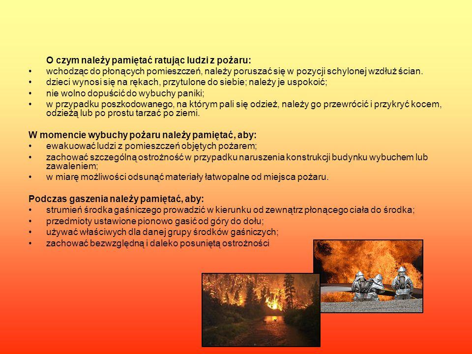 O czym należy pamiętać ratując ludzi z pożaru: wchodząc do płonących pomieszczeń, należy poruszać się w pozycji schylonej wzdłuż ścian. dzieci wynosi