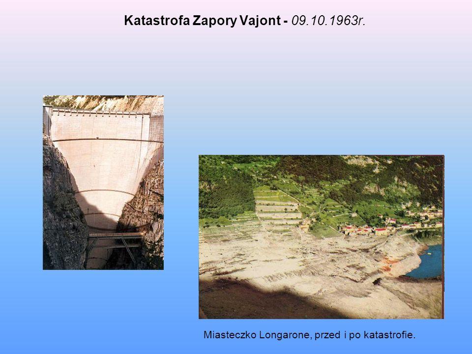 Katastrofa Zapory Vajont - 09.10.1963r. Miasteczko Longarone, przed i po katastrofie.