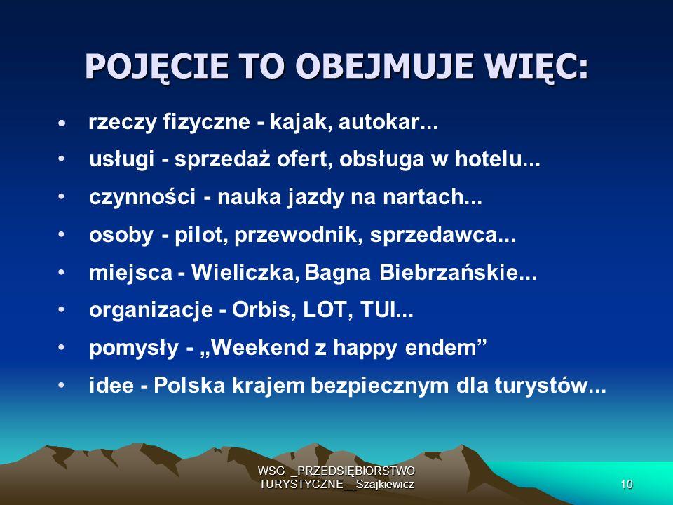 WSG _PRZEDSIĘBIORSTWO TURYSTYCZNE__Szajkiewicz10 POJĘCIE TO OBEJMUJE WIĘC: rzeczy fizyczne - kajak, autokar... usługi - sprzedaż ofert, obsługa w hote