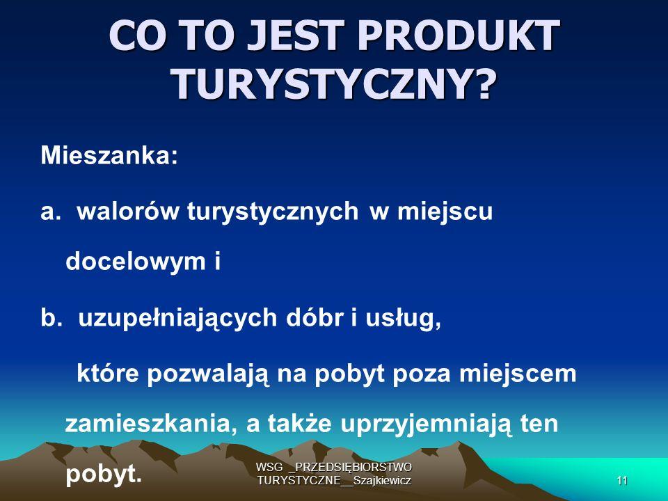 WSG _PRZEDSIĘBIORSTWO TURYSTYCZNE__Szajkiewicz11 CO TO JEST PRODUKT TURYSTYCZNY? Mieszanka: a. walorów turystycznych w miejscu docelowym i b. uzupełni