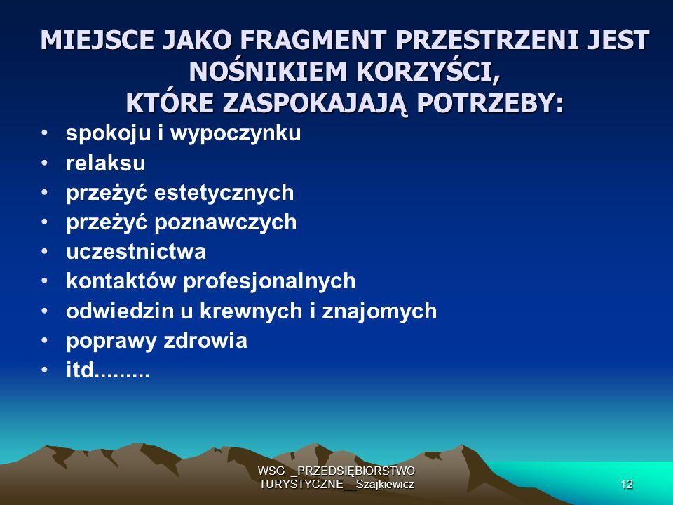 WSG _PRZEDSIĘBIORSTWO TURYSTYCZNE__Szajkiewicz12 MIEJSCE JAKO FRAGMENT PRZESTRZENI JEST NOŚNIKIEM KORZYŚCI, KTÓRE ZASPOKAJAJĄ POTRZEBY: spokoju i wypo