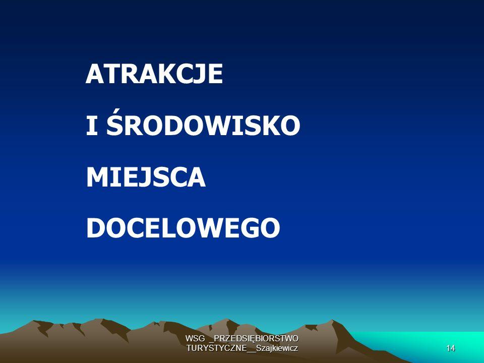 WSG _PRZEDSIĘBIORSTWO TURYSTYCZNE__Szajkiewicz14 ATRAKCJE I ŚRODOWISKO MIEJSCA DOCELOWEGO