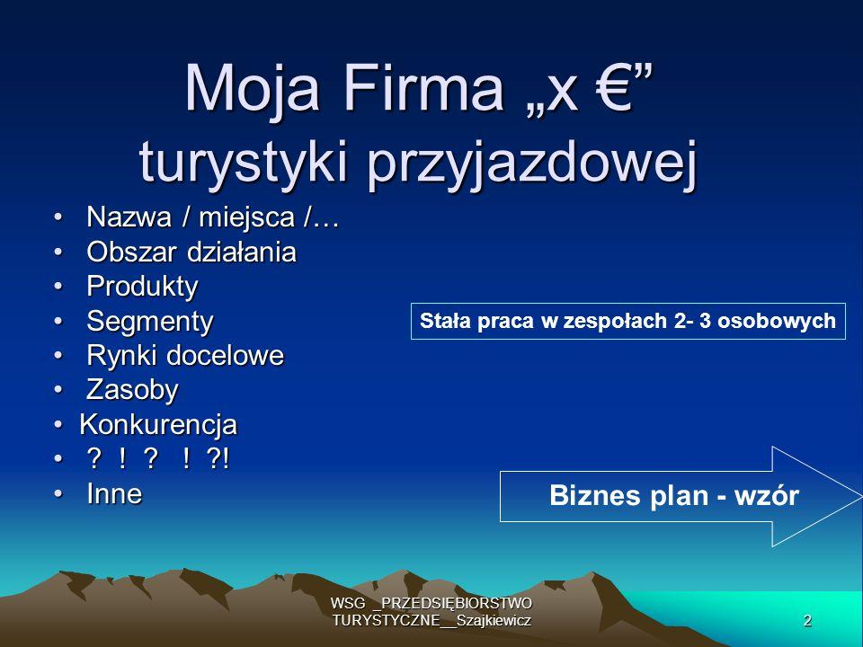 2 WSG _PRZEDSIĘBIORSTWO TURYSTYCZNE__Szajkiewicz Moja Firma x turystyki przyjazdowej Nazwa / miejsca /… Nazwa / miejsca /… Obszar działania Obszar dzi
