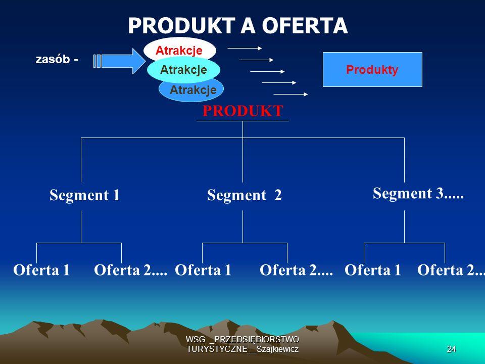 WSG _PRZEDSIĘBIORSTWO TURYSTYCZNE__Szajkiewicz24 PRODUKT A OFERTA PRODUKT Segment 1Segment 2 Segment 3..... Oferta 1 Oferta 2.... Oferta 1Oferta 2....