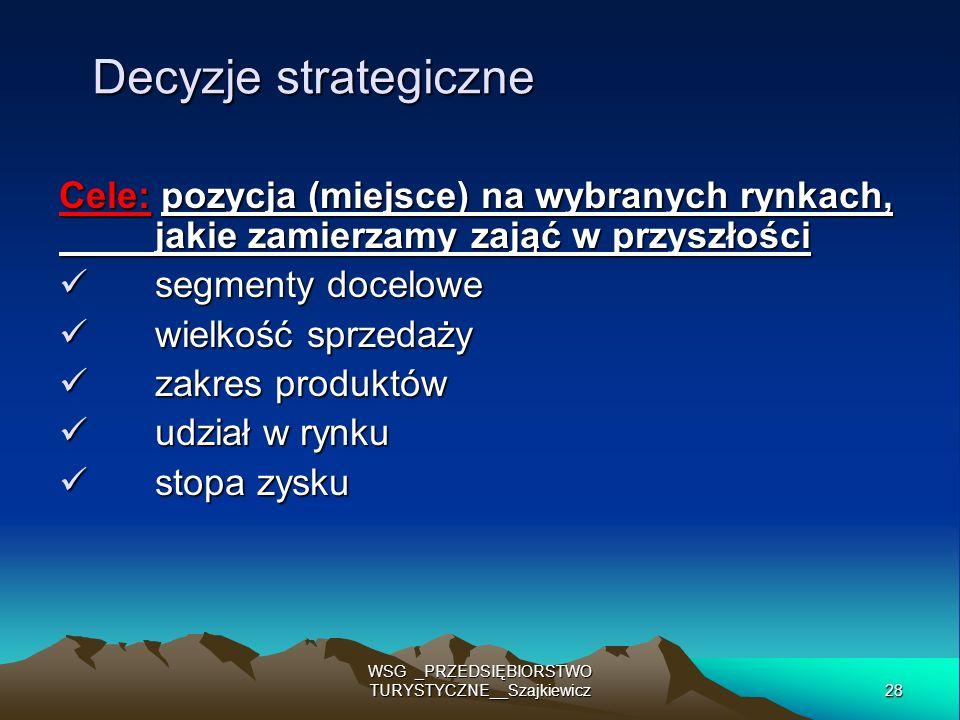 28 WSG _PRZEDSIĘBIORSTWO TURYSTYCZNE__Szajkiewicz Decyzje strategiczne Cele: pozycja (miejsce) na wybranych rynkach, jakie zamierzamy zająć w przyszło