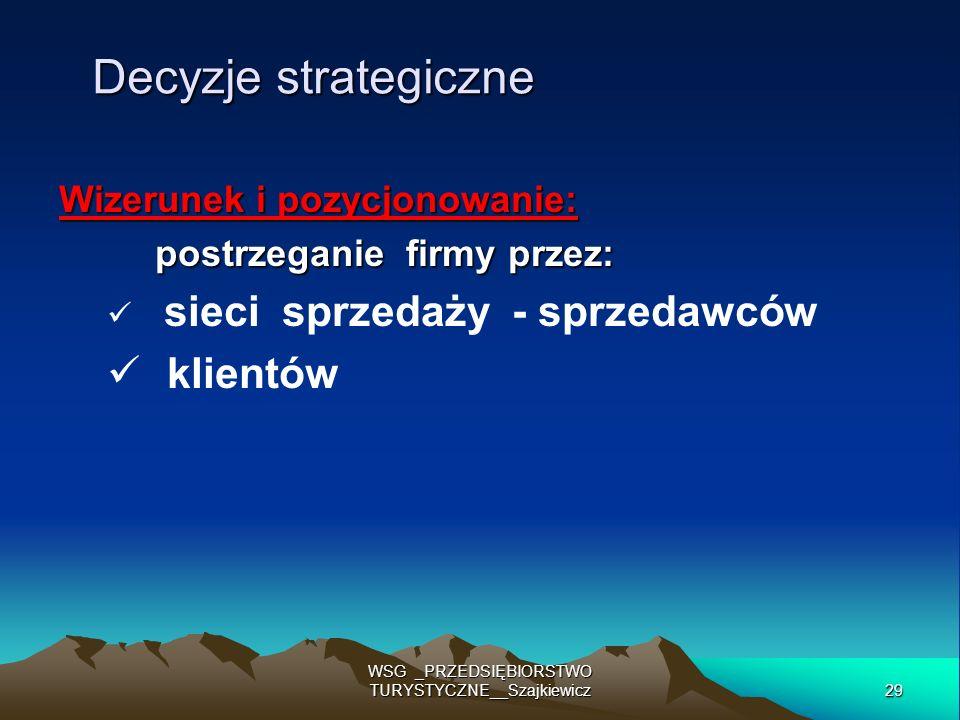 29 WSG _PRZEDSIĘBIORSTWO TURYSTYCZNE__Szajkiewicz Decyzje strategiczne Wizerunek i pozycjonowanie: postrzeganie firmy przez: sieci sprzedaży - sprzeda