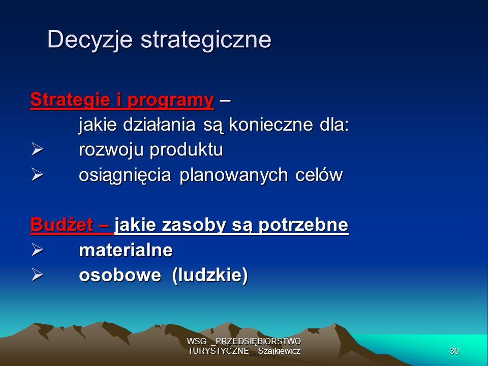 30 WSG _PRZEDSIĘBIORSTWO TURYSTYCZNE__Szajkiewicz Decyzje strategiczne Strategie i programy – jakie działania są konieczne dla: rozwoju produktu rozwo