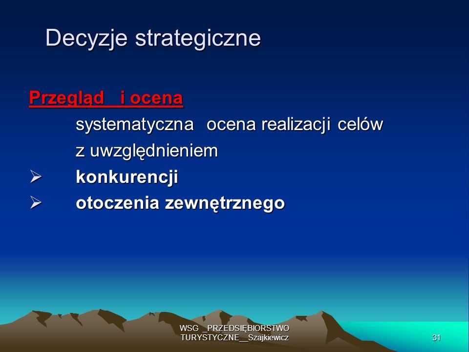 31 WSG _PRZEDSIĘBIORSTWO TURYSTYCZNE__Szajkiewicz Decyzje strategiczne Przegląd i ocena systematyczna ocena realizacji celów z uwzględnieniem konkuren