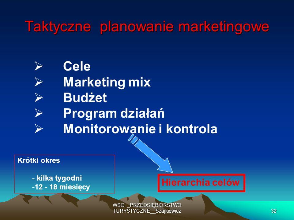 WSG _PRZEDSIĘBIORSTWO TURYSTYCZNE__Szajkiewicz32 Taktyczne planowanie marketingowe Cele Marketing mix Budżet Program działań Monitorowanie i kontrola