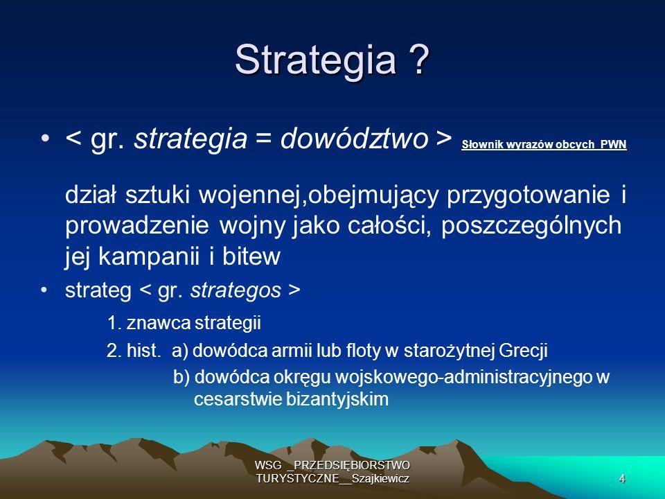 25 WSG _PRZEDSIĘBIORSTWO TURYSTYCZNE__Szajkiewicz cele (wybrane miejsca docelowe / rynki docelowe ) cele (wybrane miejsca docelowe / rynki docelowe ) strategie (wybrane drogi do osiągnięcia celów) strategie (wybrane drogi do osiągnięcia celów) plany ( programy działań do posuwania się po wybranej drodze) plany ( programy działań do posuwania się po wybranej drodze) KLIENCI konkurenci KONIECZNiE TRZEBA OKREŚLIĆ W PRZEDSIĘBIORSTWIE
