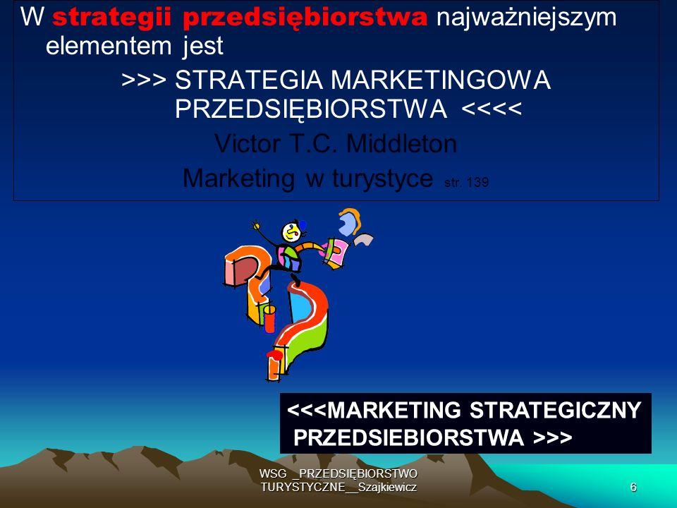 27 WSG _PRZEDSIĘBIORSTWO TURYSTYCZNE__Szajkiewicz Decyzje strategiczne - to planowanie - na więcej niż 3-5 lat Planowanie strategii marketingowej obejmuje Cel Wizerunek i pozycjonowanie Strategie i programy Budżet Przegląd i oceny