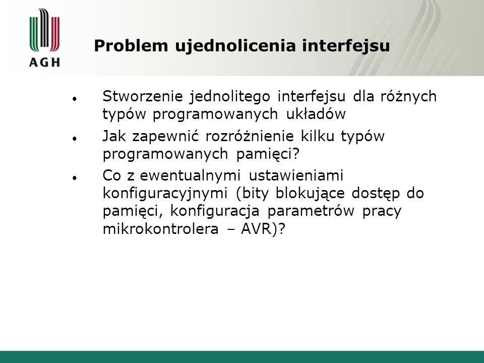 Problem ujednolicenia interfejsu Stworzenie jednolitego interfejsu dla różnych typów programowanych układów Jak zapewnić rozróżnienie kilku typów prog