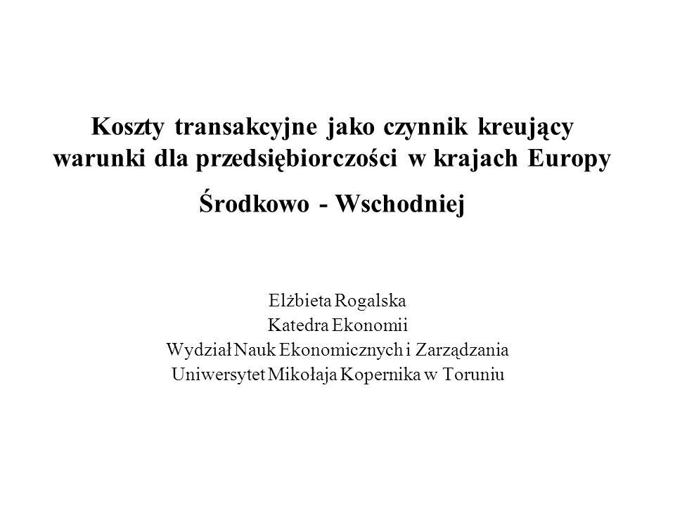 Koszty transakcyjne jako czynnik kreujący warunki dla przedsiębiorczości w krajach Europy Środkowo - Wschodniej Elżbieta Rogalska Katedra Ekonomii Wyd