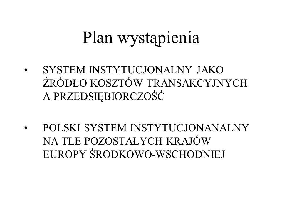 Plan wystąpienia SYSTEM INSTYTUCJONALNY JAKO ŹRÓDŁO KOSZTÓW TRANSAKCYJNYCH A PRZEDSIĘBIORCZOŚĆ POLSKI SYSTEM INSTYTUCJONANALNY NA TLE POZOSTAŁYCH KRAJ